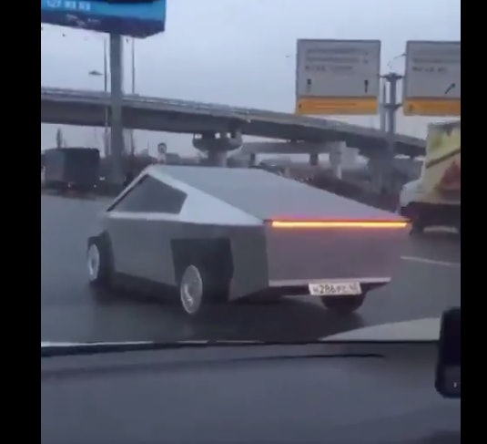 The faux Cybertruck captured on a Russian dashcam.