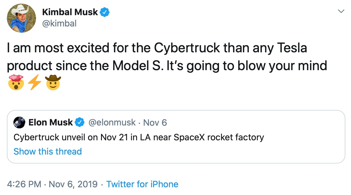 Kimbal Musk hyping up the truck.