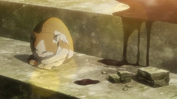 A random cat sits serenely as people die around him in 'Attack on Titan.'