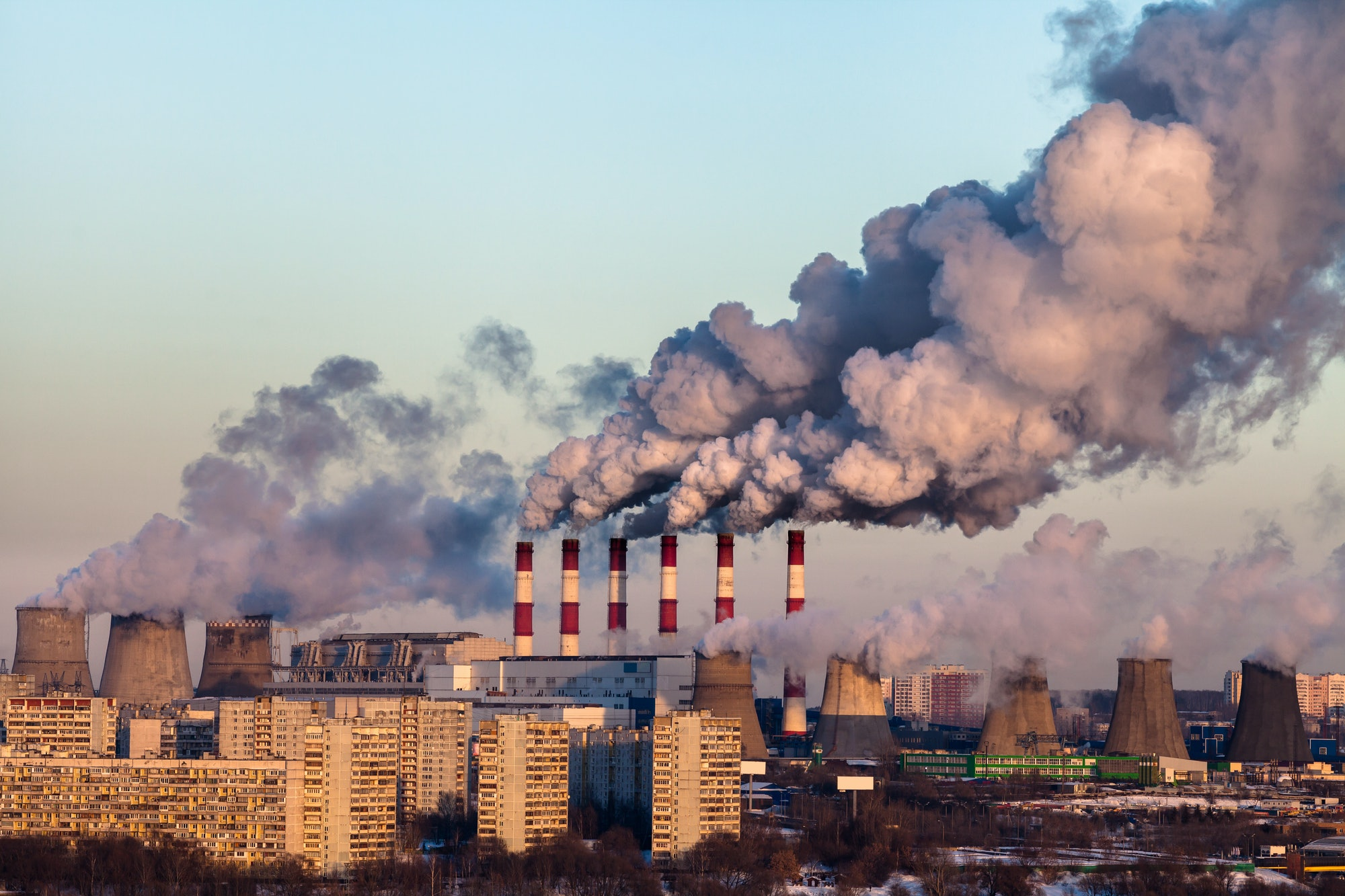 smoke stacks smog pollution