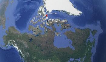 devon ice cap map