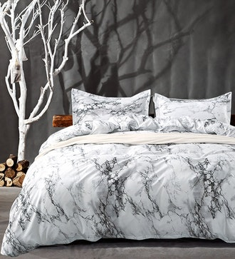Click image to open expanded view NANKO Queen Bedding Duvet Cover Set White Marble, 3 Piece