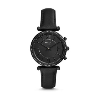 Fossil Women's Hybrid Smartwatch Stainless Steel Watch with Leather Strap, Black