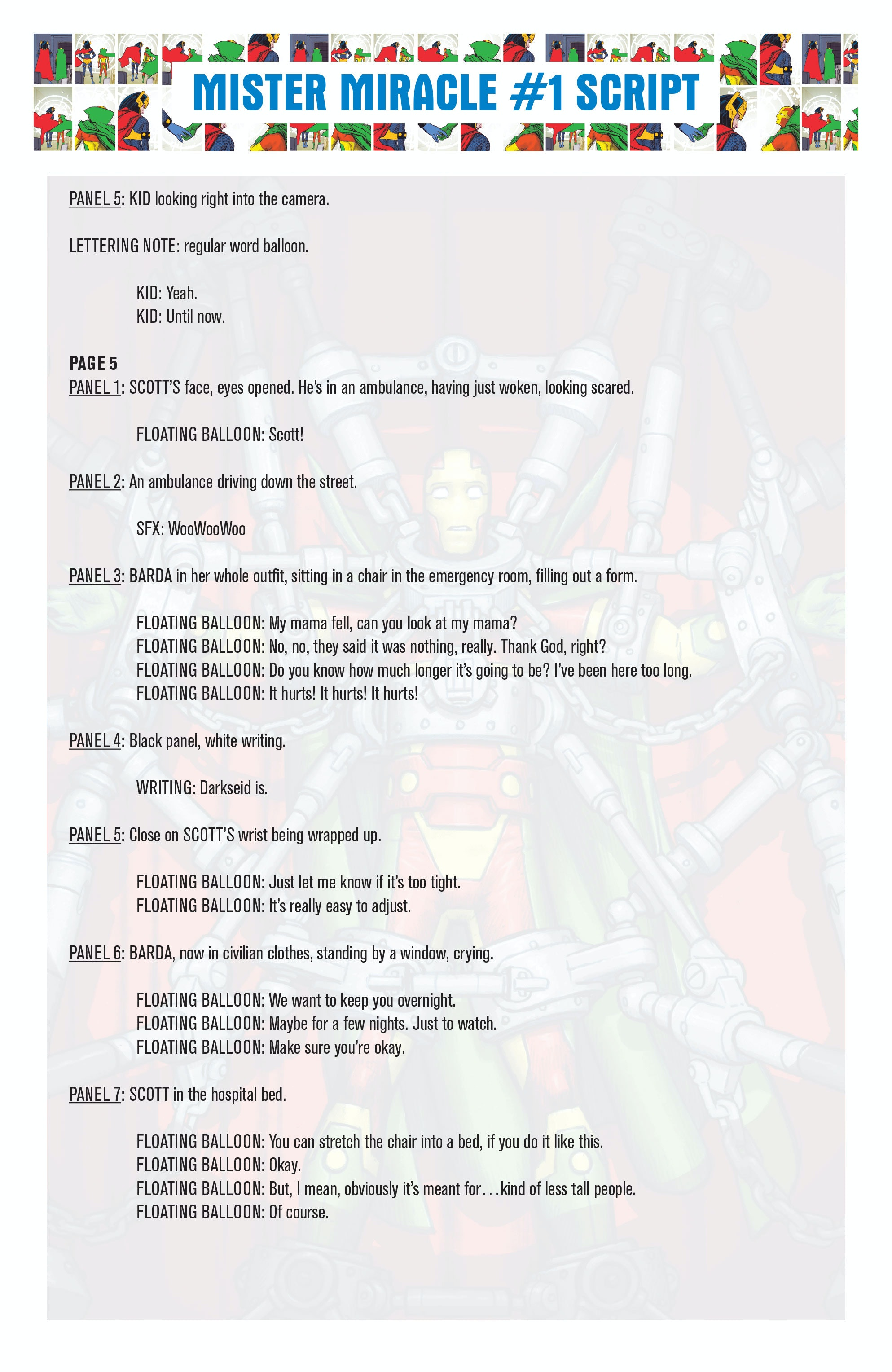 tom King Mister Miracle Scripts