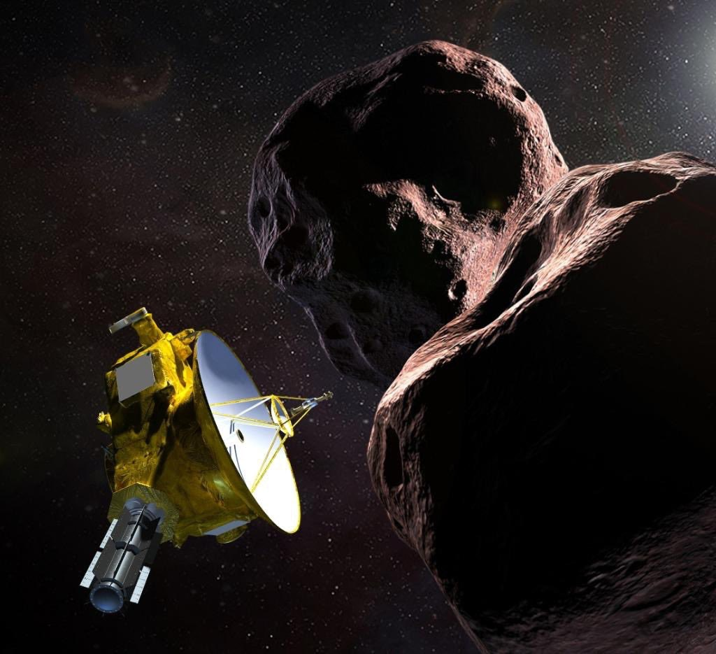 A NASA illustration of of New Horizons flying by the controversially named space object Ultima Thule, some 4 billion miles away, on New Year's Day.