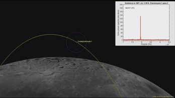 This computer-generated image depicts the Chandrayaan-1's location at time it was detected by the Goldstone Solar System radar on July 2, 2016. The 120-mile (200-kilometer) wide purple circle represents the width of the Goldstone radar beam at lunar distance. The white box in the upper-right corner of the animation depicts the strength of echo. Inside the radar beam (purple circle), the echo from the spacecraft alternated between being very strong and very weak, as the radar beam scattered from the flat metal surfaces.