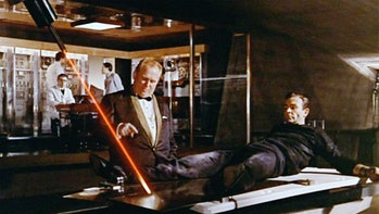 The first mainstream pop-culture mention of a laser was in 1964, in the James Bond movie 'Goldfinger'