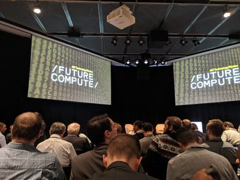 An audience waits for speakers to take the stage on December 2, 2019 at MIT Technology Review's Future Compute conference in Cambridge, Massachusetts.
