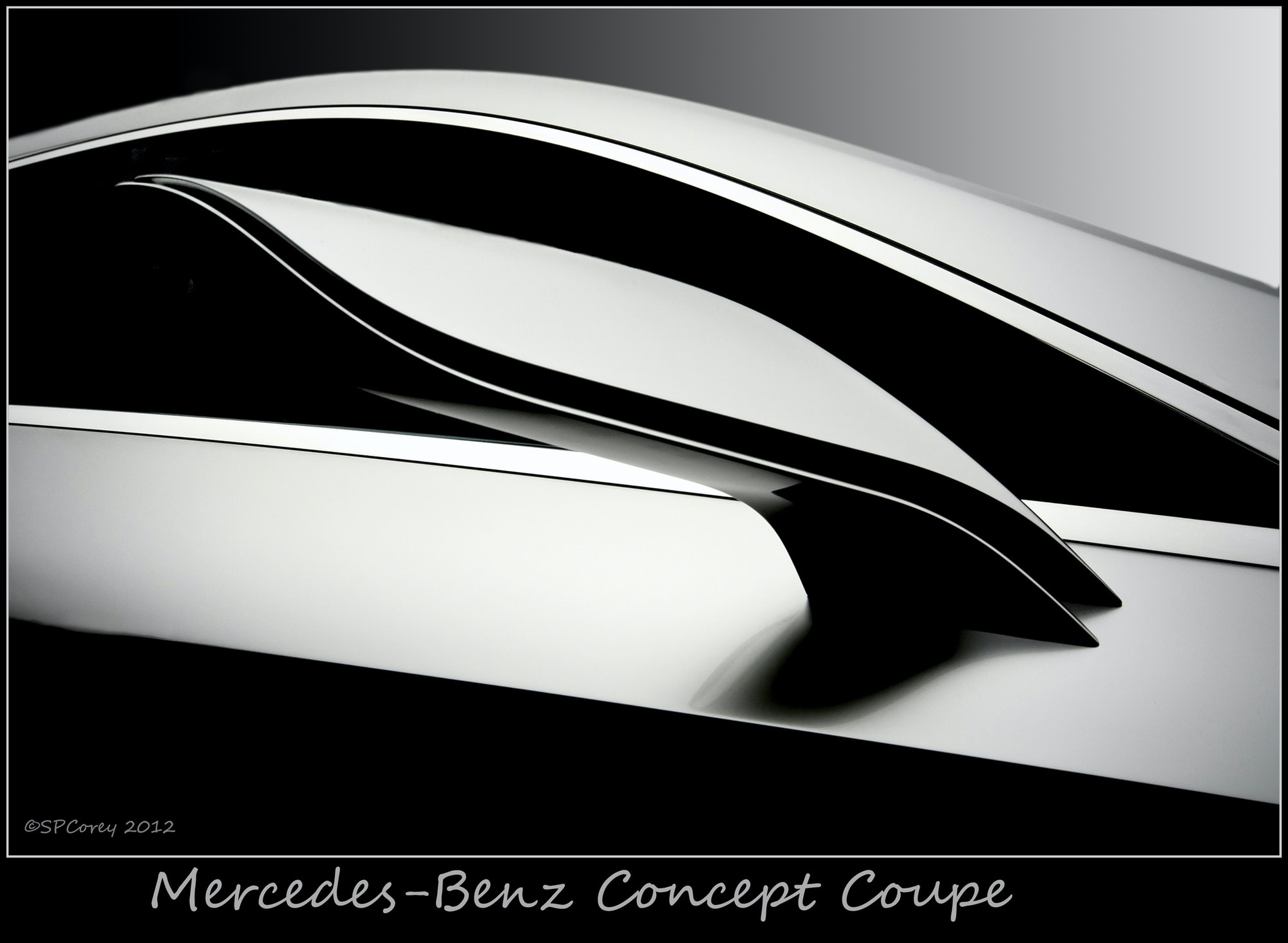 Prominent line design, even for a mirror, shows the artistic freedom available to the designers of a concept car prior to production. I must have taken 16 images just of this door mirror as an example of the beautiful lines that will, in time, replace our box shaped cars produced today. Image taken at the Pebble Beach Concours d'Elegance, 2012. Thanks for viewing.500px.com/stevecorey