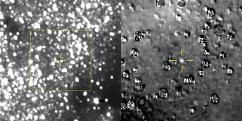 Left: Composite image taken by New Horizons showing the estimated range of Ultima Thule in the yello...
