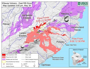 Map of lava flows as of 3:00 p.m. on May 30.