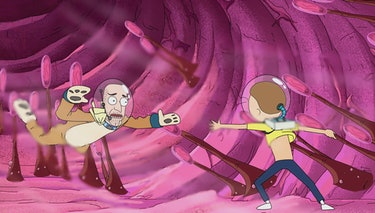 Morty tries to save Anatomy Park's animal mascot guy when Reuben coughs.