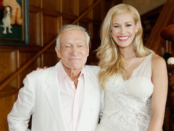 HOLMBY HILLS, CA - MAY 15: Playboy Founder and Editor in Chief Hugh M. Hefner (L) and 2014 Playmate Of The Year Kennedy Summers attend Playboy's 2014 Playmate Of The Year Announcement and Reception at The Playboy Mansion on May 15, 2014 in Holmby Hills, California. (Photo by Mike Windle/Getty Images for Playboy)