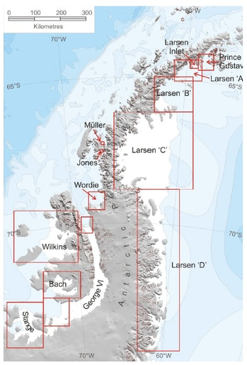 The Larsen A, Larsen B, Larsen C, and Larsen D ice shelves on the Antarctic Peninsula.