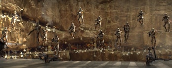 Clone Trooper repelling. Seems like jetpacks would have been useful here?