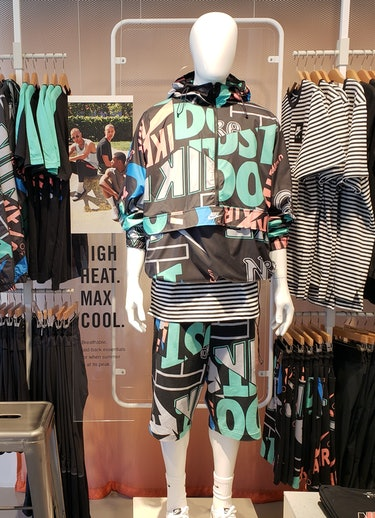 Nike hopes customers will want to scan QR codes with the Nike app that appear next to outfits like this one in its new stores. Nike by Melrose.