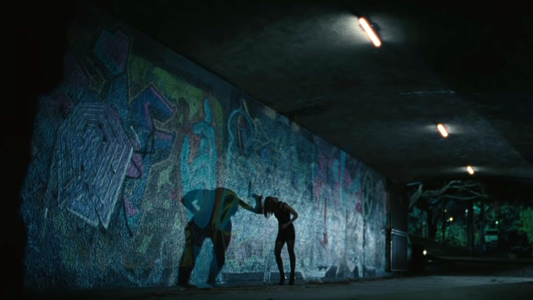 Evan Rachel Wood and maze graffiti in 'Westworld III'