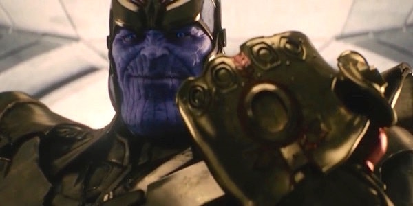 Thanos shows off his stone-less Infinity Gauntlet.