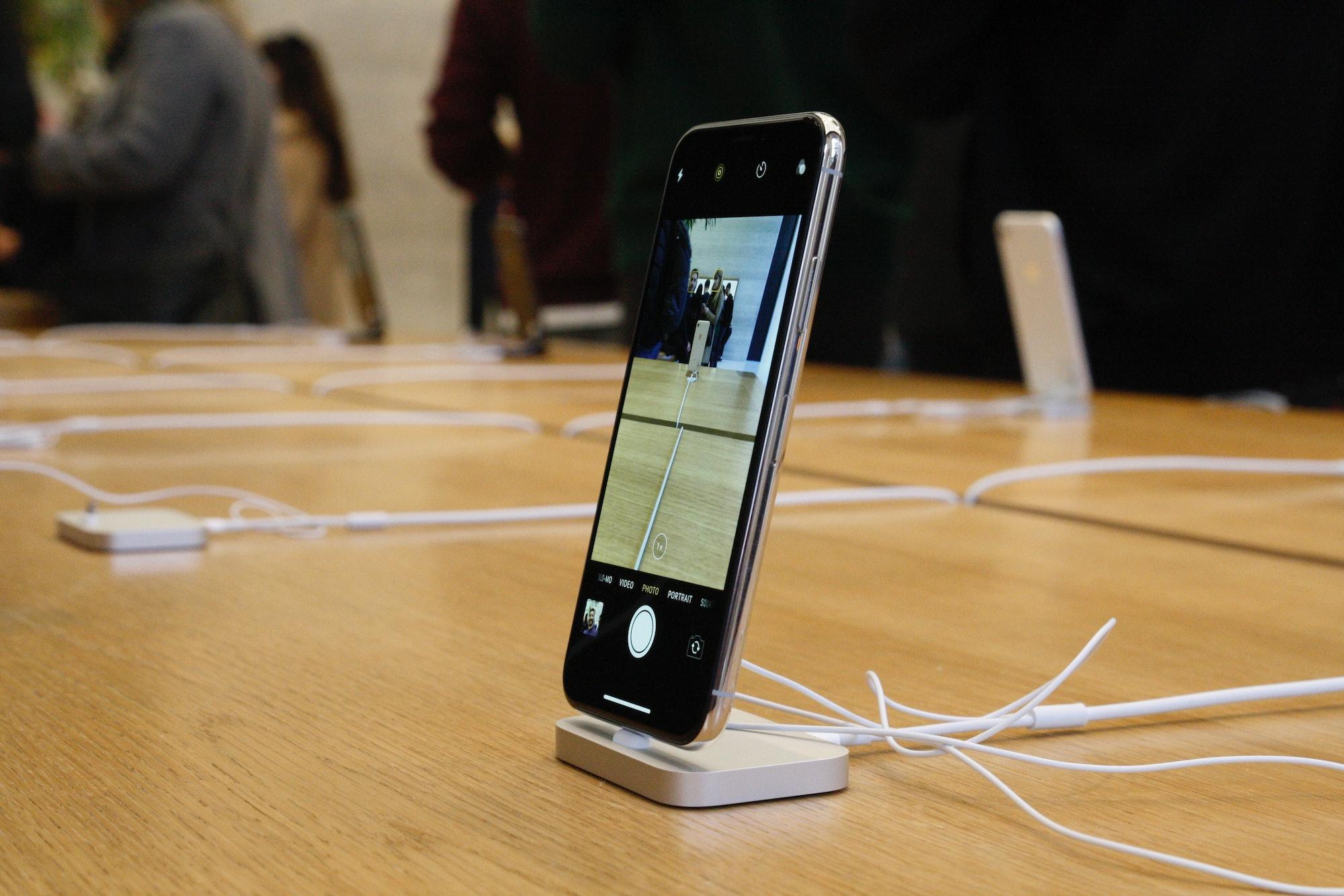 The iPhone X on display.