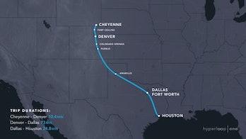 Cheyenne Wymonig to Houston hyperloop
