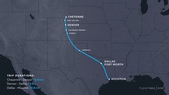 Cheyenne Wymonig to Houston hyperloop
