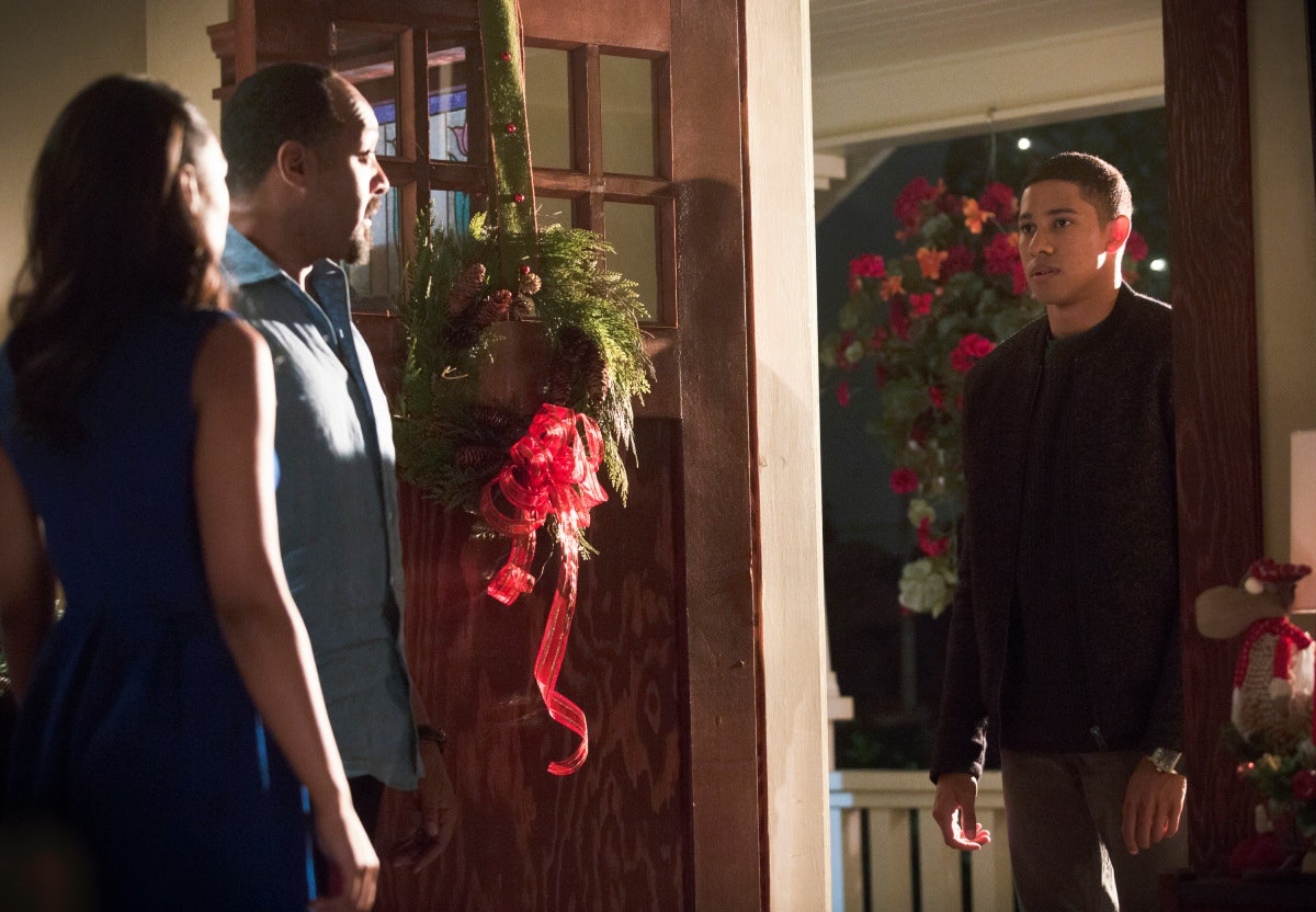 Pictured (L-R): Candice Patton as Iris West, Jesse L. Martin as Detective Joe West and Keiynan Lonsdale as Wally West