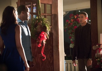 Pictured (L-R): Candice Patton as Iris West, Jesse L. Martin as Detective Joe West and Keiynan Lonsd...