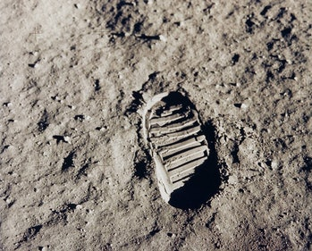 One of Buzz Aldrin's first bootprints from his Apollo 11 moonwalk on July 20, 1969.