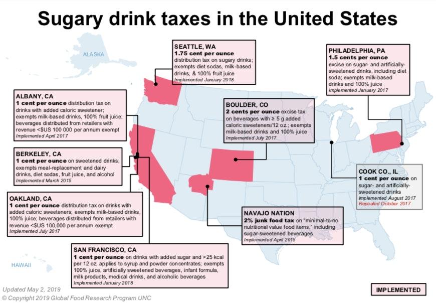 soda taxes, United States map
