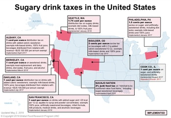 soda taxes, United States map