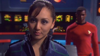 "Empress Hoshi Sato (Linda Park) on the bridge of the stolen USS Defiant in the 2005 'Enterprise' episode ""In a Mirror, Darkly."""
