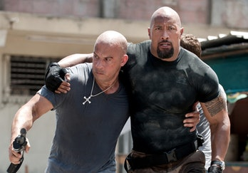 Vin Diesel and Dwayne Johnson in Fast and Furious 6