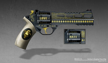 Concept art for Harley Quinn's gun in 'Suicide Squad'