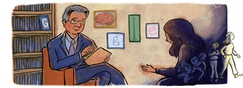 The Google Doodle honoring Dr. Herbert Kleber on October, 2019.