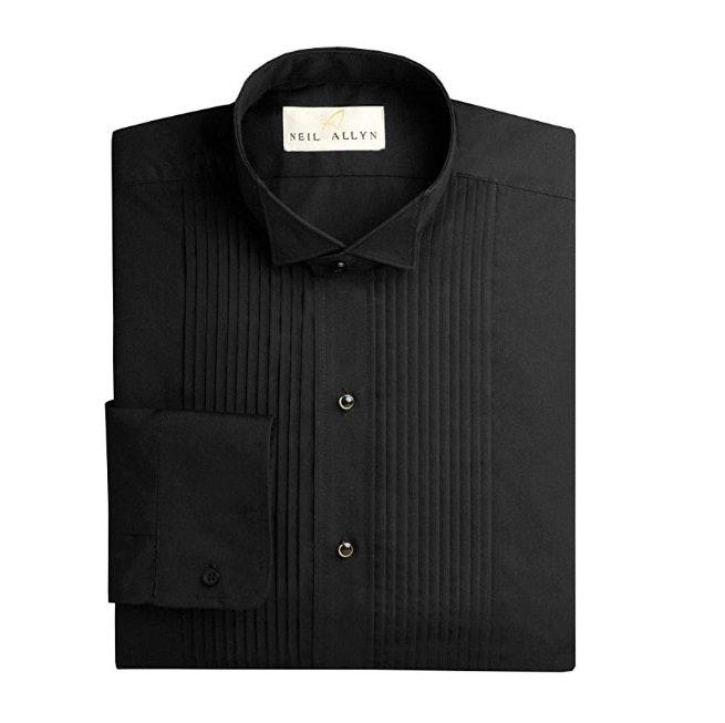 """Neil Allyn Men's Black Wing Collar 1/4"""" Pleats Tuxedo Shirt"""