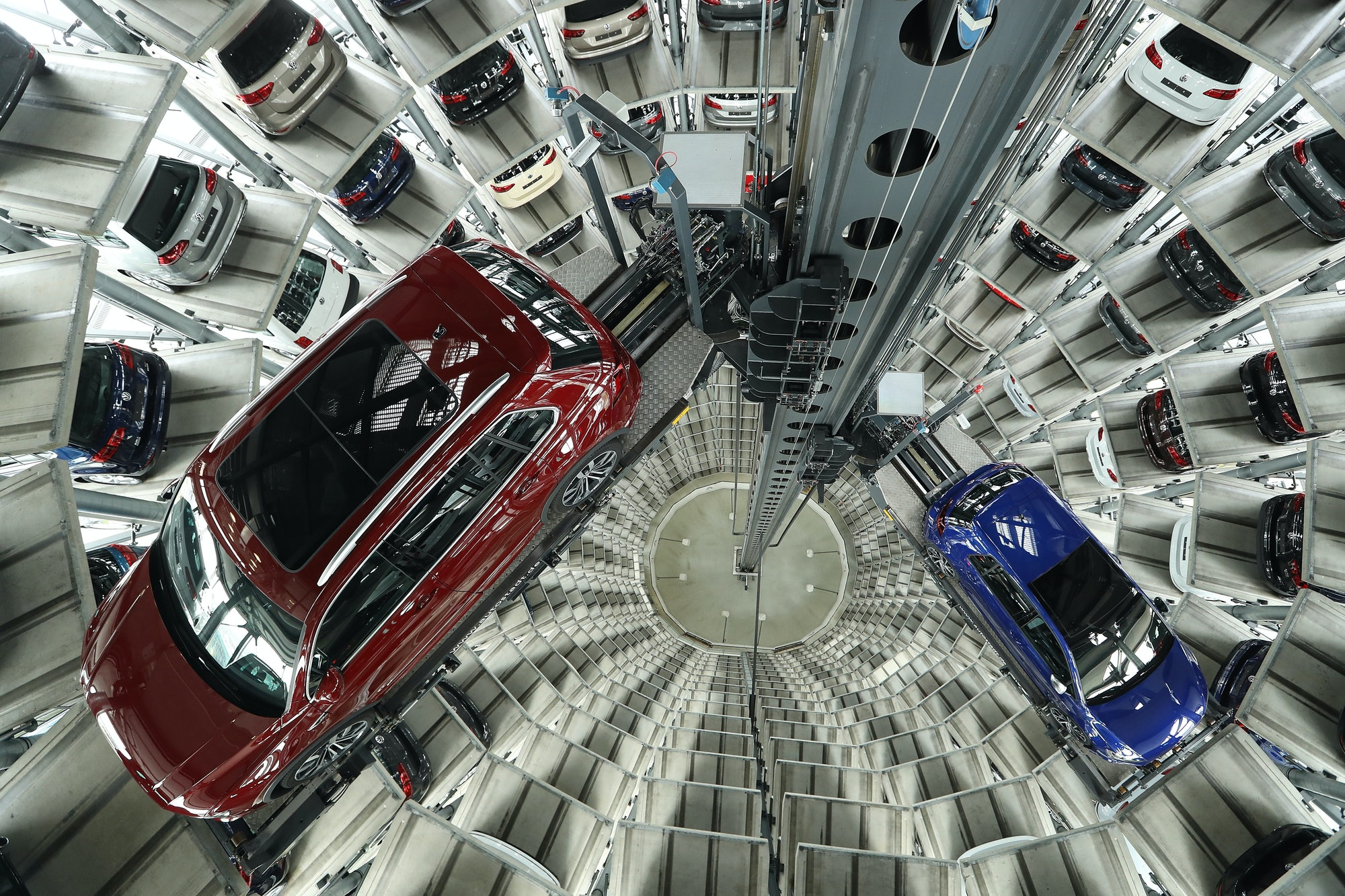 Cars standing inside a tower at Volkswagen's headquarters in Germany.