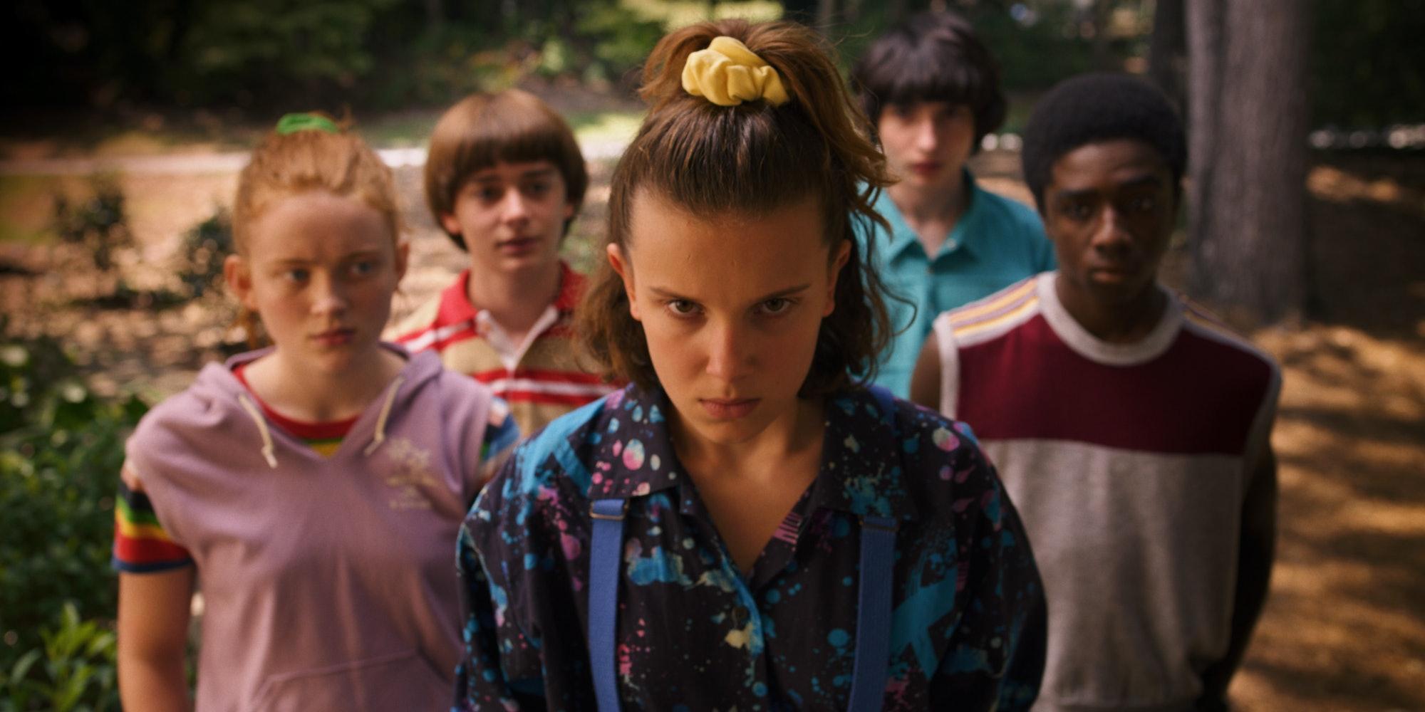 Millie Bobby Brown, Sadie Sink, Finn Wolfhard, Caleb McLoughlin, Noah Schnapp in 'Stranger Things'