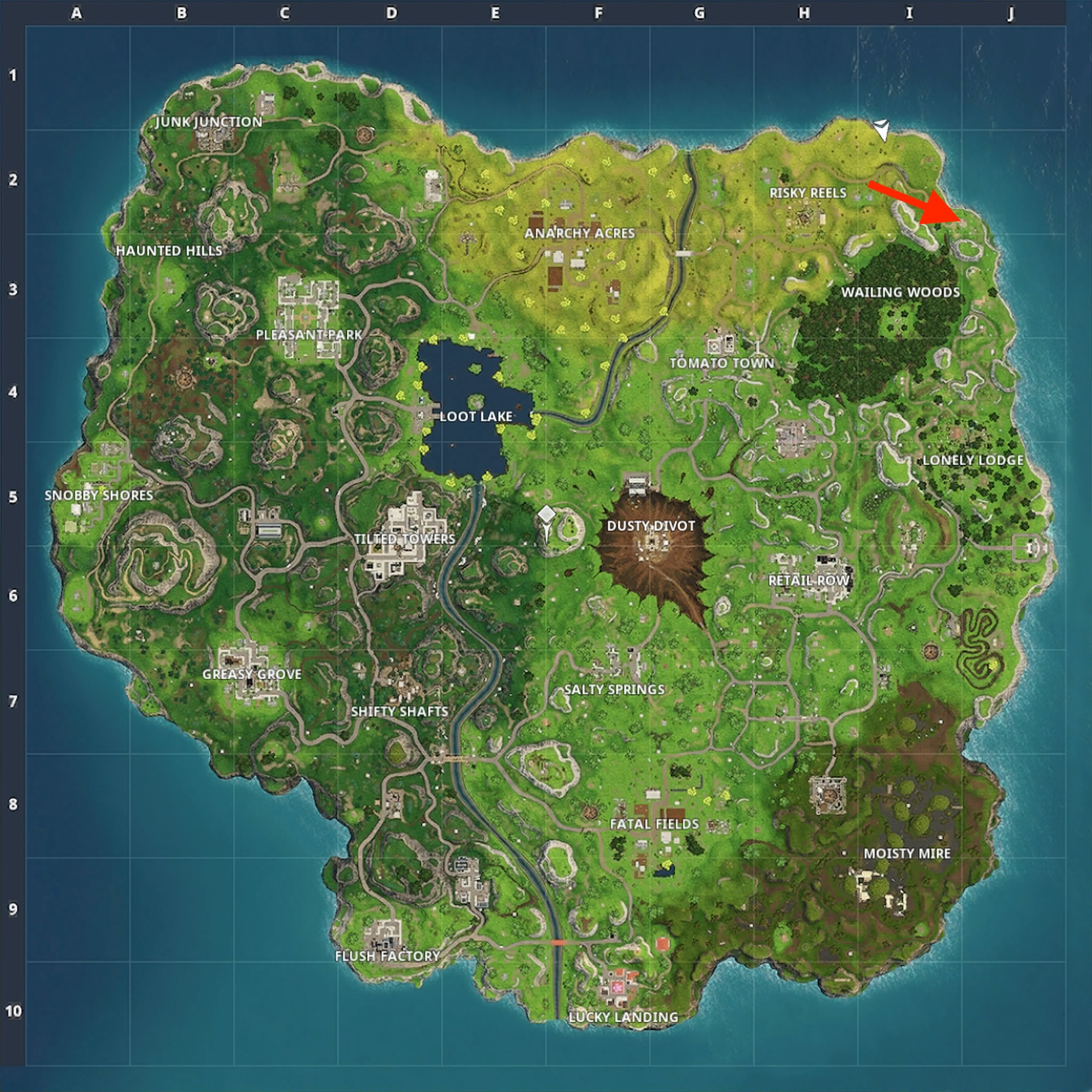 Right around that red arrow is a tall wooden house that's a great landing point for easygoing 'Fortnite: Battle Royale' players.