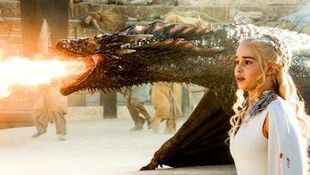Emilia Clarke as Daenerys Targaryen and her dragons on 'Game of Thrones'