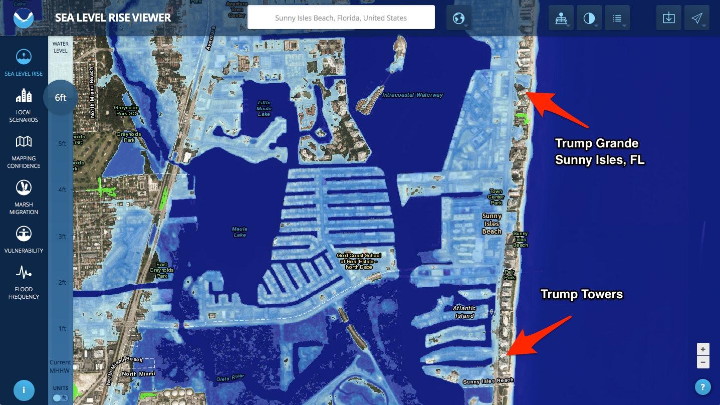 sunny isles trump sea level rise map