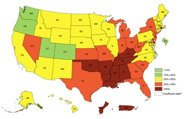This map shows the percentage of people who lead sedentary lifestyles living in each state.