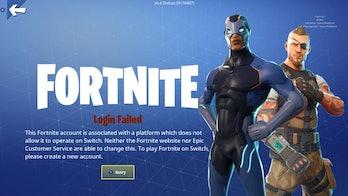 'Fortnite' Nintendo Switch error message
