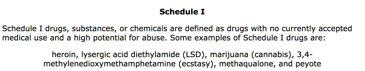 Schedule I drugs, according to the DEA website.