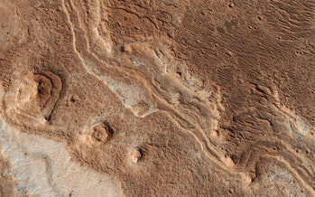 The eroded channels of Mars' Shalbatana Valles.
