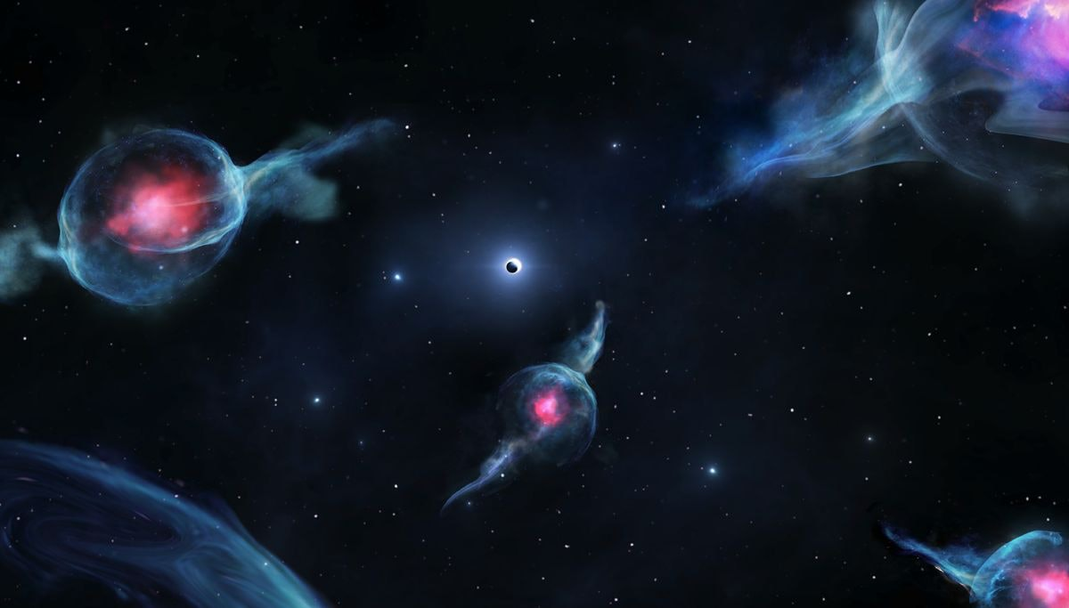 Artist's impression of G objects, with the reddish centers, orbiting the supermassive black hole at the center of our galaxy. The black hole is represented as a dark sphere inside a white ring (above the middle of the rendering).