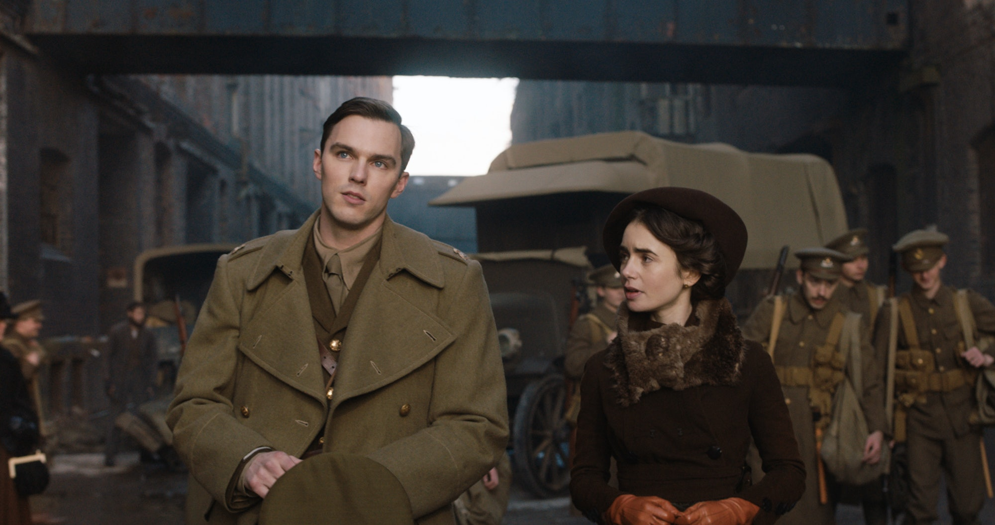Nicholas Hoult and Lily Collins in the film 'Tolkien.'