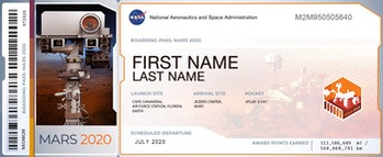 Get your very own Mars 2020 boarding pass