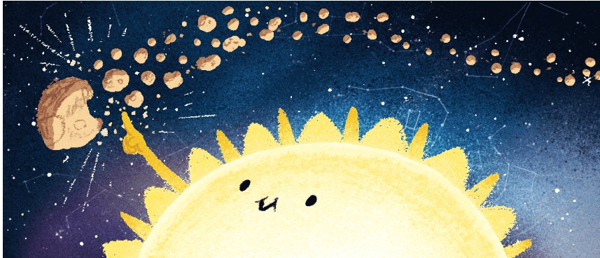 This panel from Thursday's Google Doodle shows the asteroid 3200 Phaethon as it passes the sun, leaving meteors in its wake.