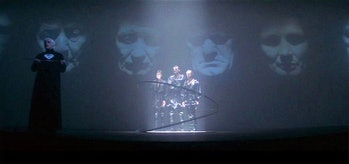 Jor-El (Marlon Brando) sentences Zod, Ursa, and Non to the Phantom Zone in 'Superman' (1978).