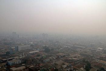 Smoke covers the city of Porto Velho, Rondonia, Brazil.